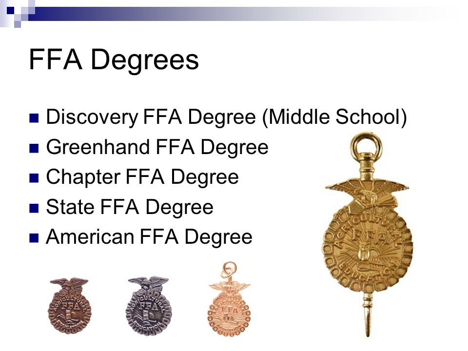FFA Degrees Discovery FFA Degree (Middle School) Greenhand FFA Degree