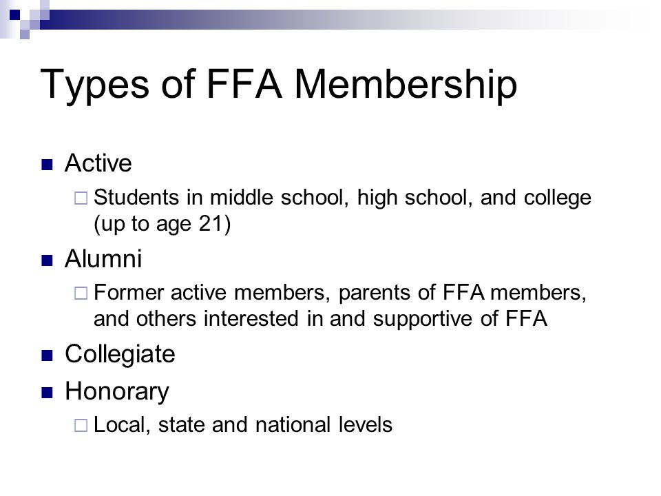 Types of FFA Membership
