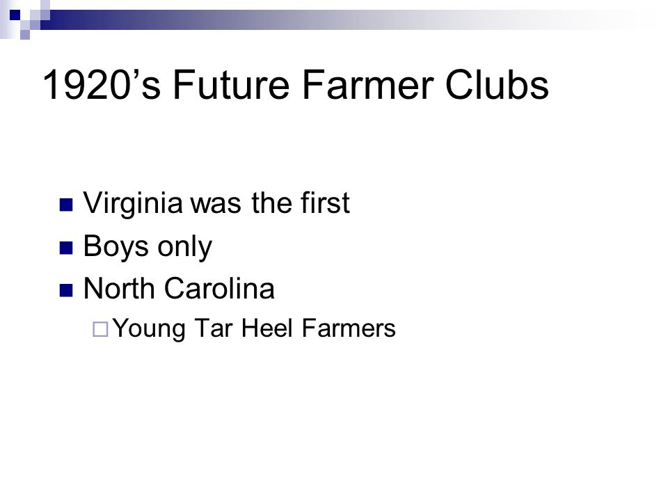 1920's Future Farmer Clubs Virginia was the first Boys only