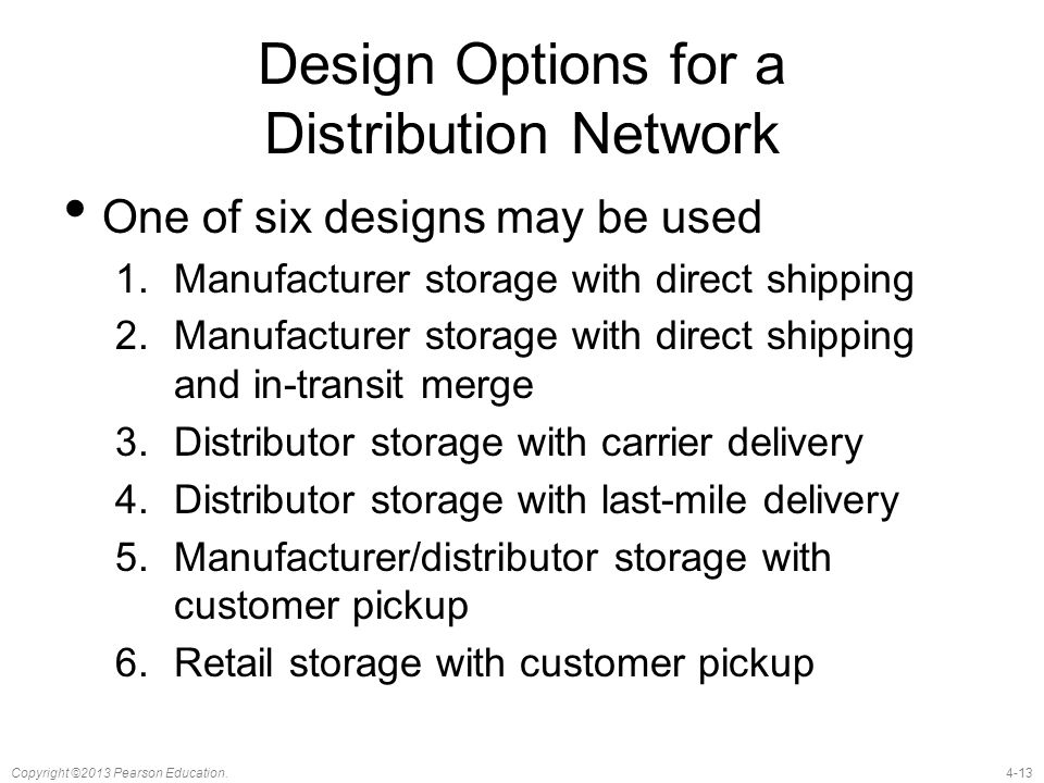 Design Options for a Distribution Network
