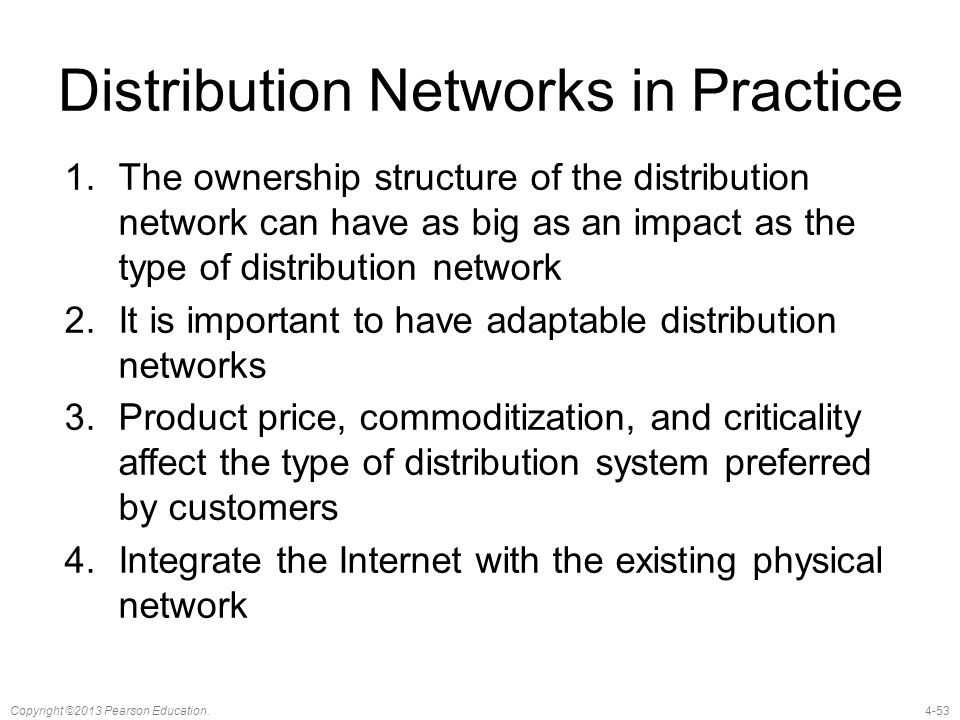 Distribution Networks in Practice