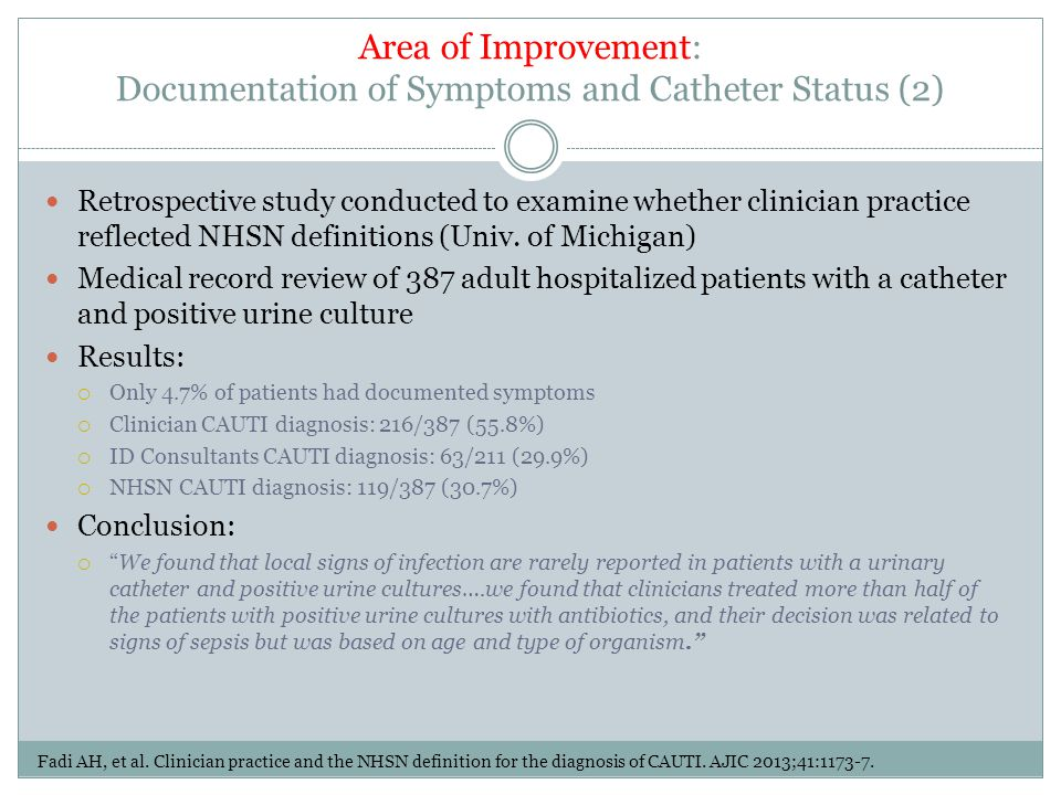 Area of Improvement: Documentation of Symptoms and Catheter Status (2)