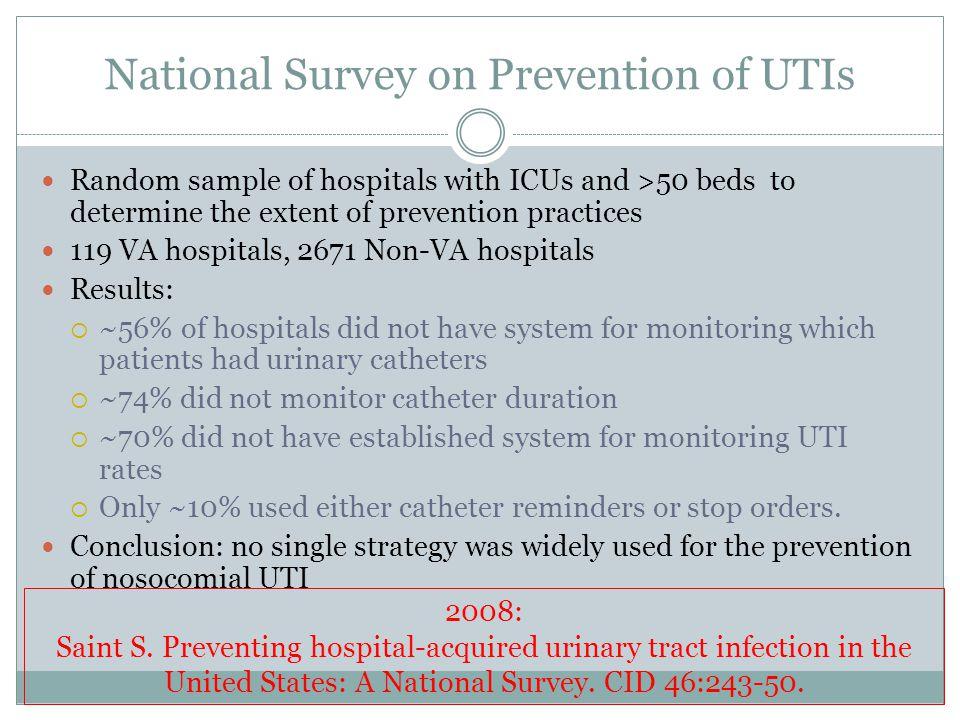 National Survey on Prevention of UTIs