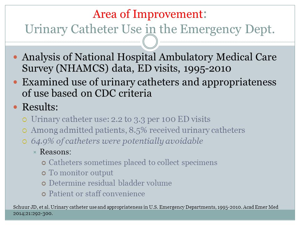 Area of Improvement: Urinary Catheter Use in the Emergency Dept.