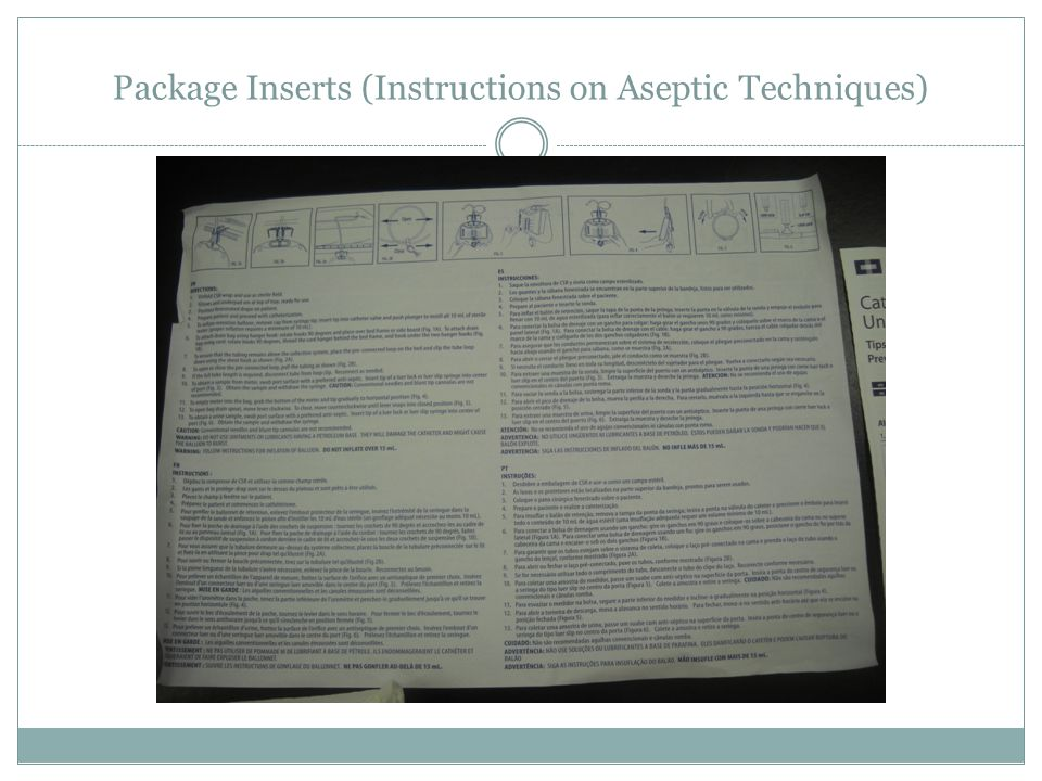 Package Inserts (Instructions on Aseptic Techniques)