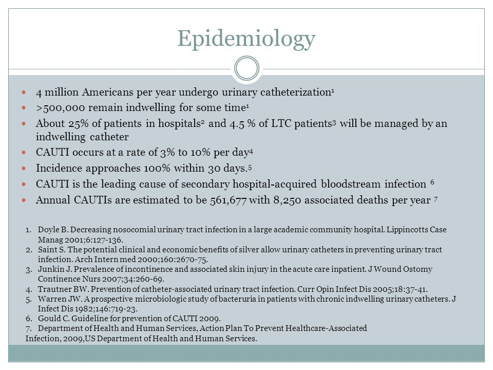 Epidemiology 4 million Americans per year undergo urinary catheterization1. >500,000 remain indwelling for some time1.