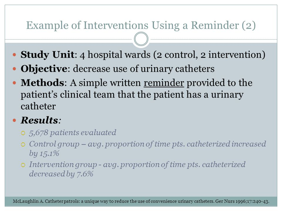 Example of Interventions Using a Reminder (2)