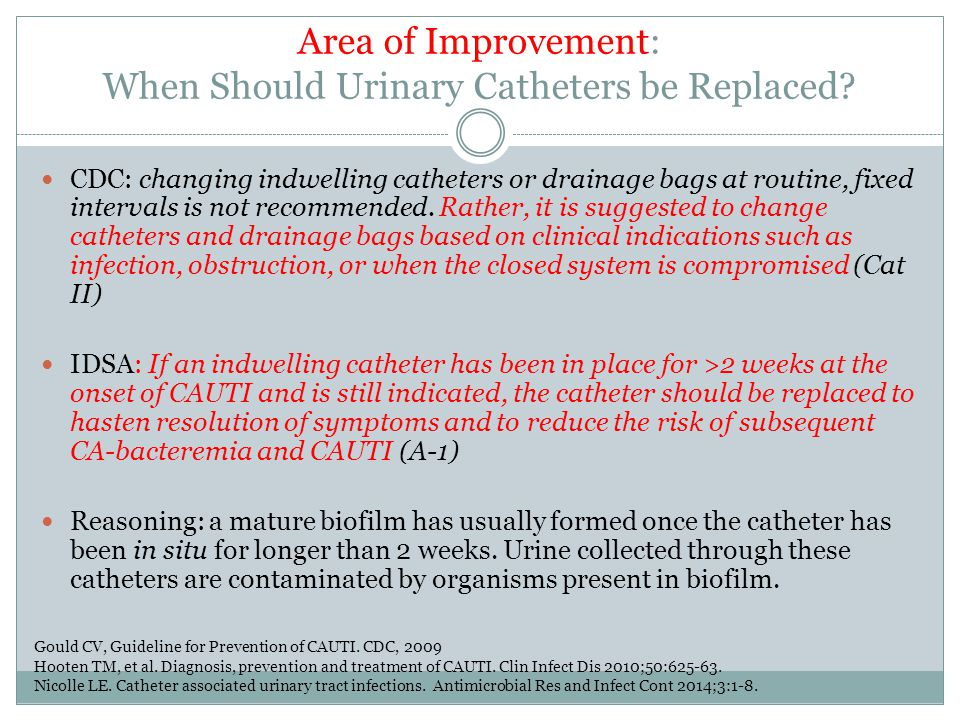 Area of Improvement: When Should Urinary Catheters be Replaced