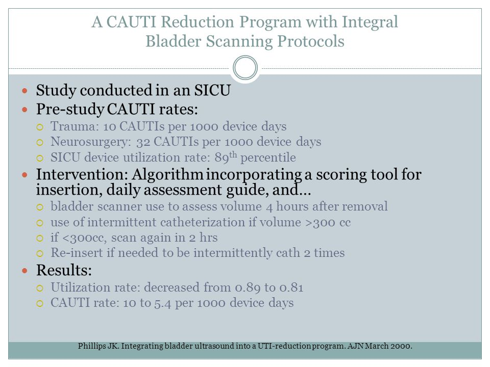 A CAUTI Reduction Program with Integral Bladder Scanning Protocols