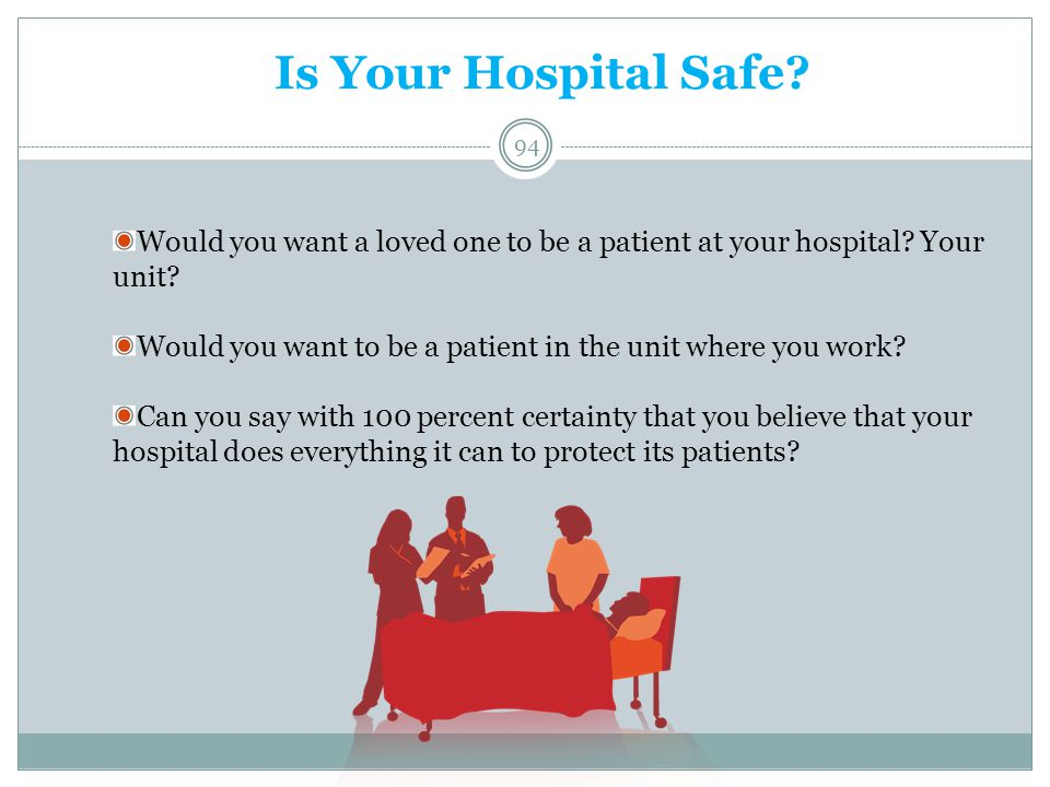 Is Your Hospital Safe Would you want a loved one to be a patient at your hospital Your unit