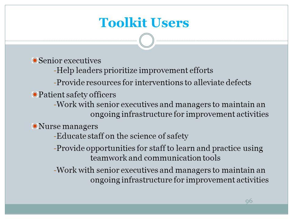 Toolkit Users Senior executives