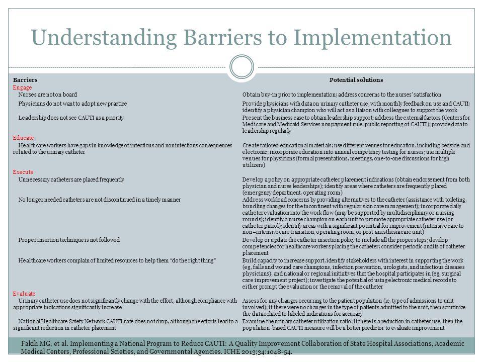Understanding Barriers to Implementation