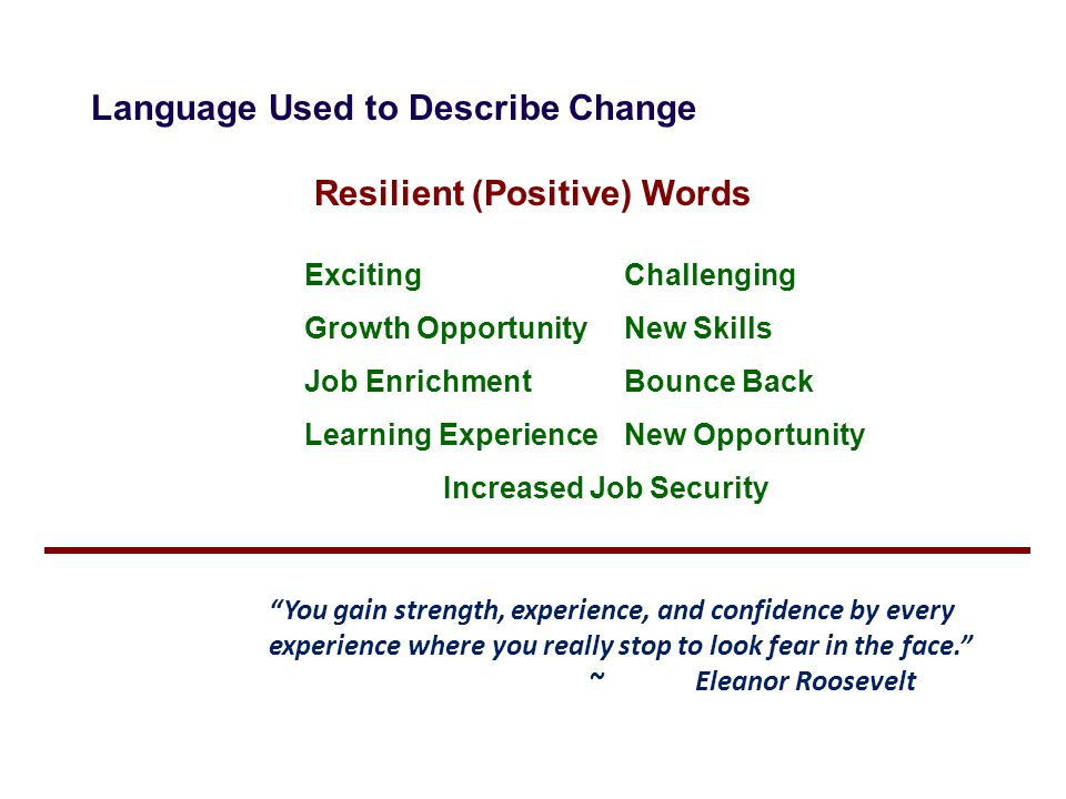 Resilient (Positive) Words
