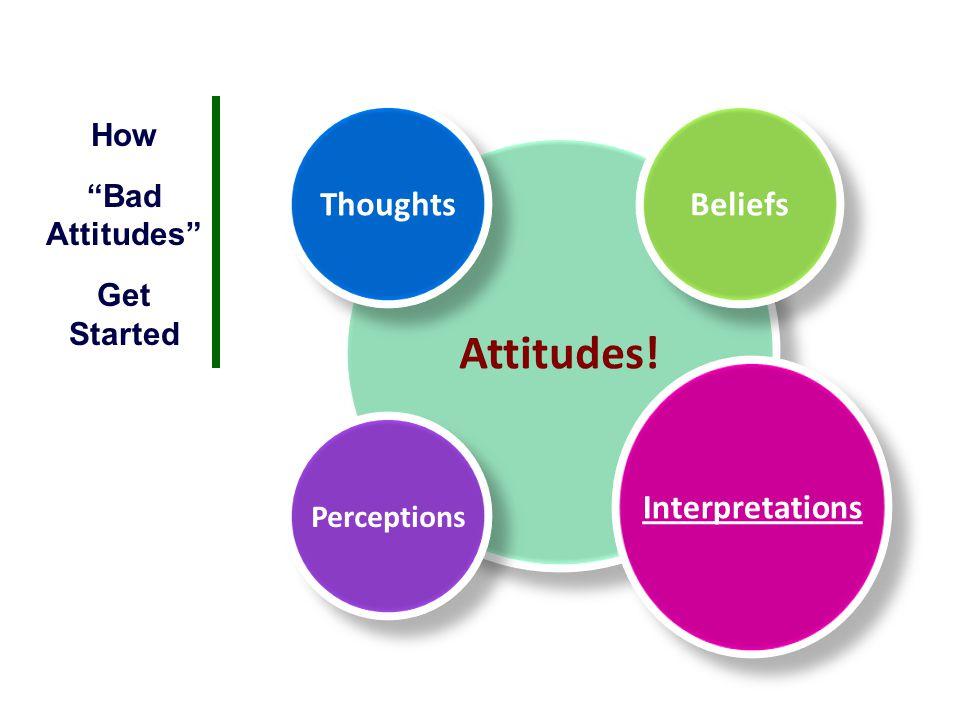 Attitudes! Thoughts Beliefs Interpretations How Bad Attitudes