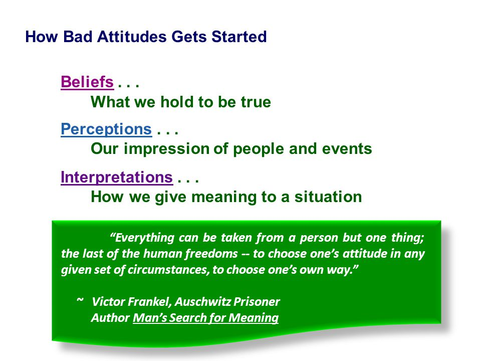 Beliefs . . . How Bad Attitudes Gets Started What we hold to be true