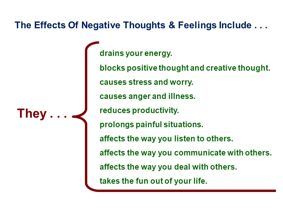They . . . The Effects Of Negative Thoughts & Feelings Include . . .