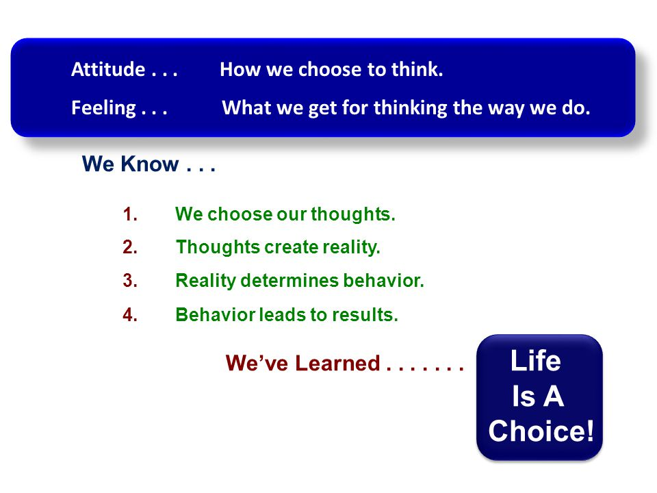 Is A Choice! Attitude . . . How we choose to think.