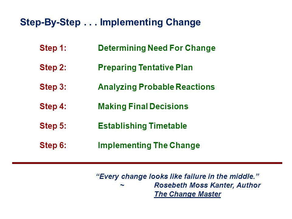 Step-By-Step . . . Implementing Change