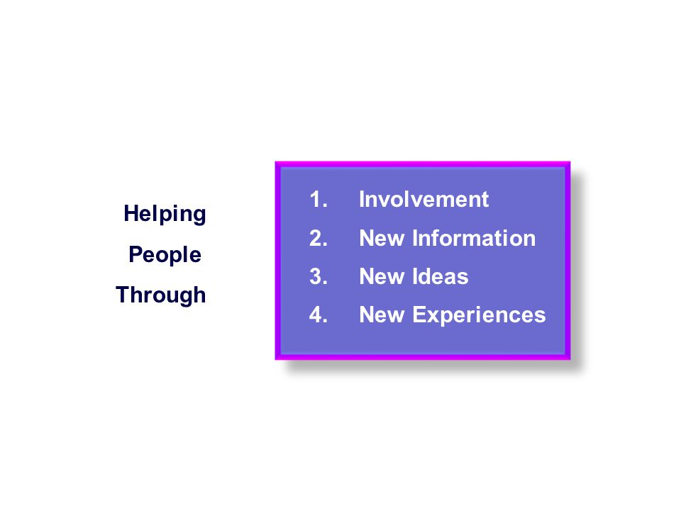 1. Involvement Helping People 2. New Information 3. New Ideas Through