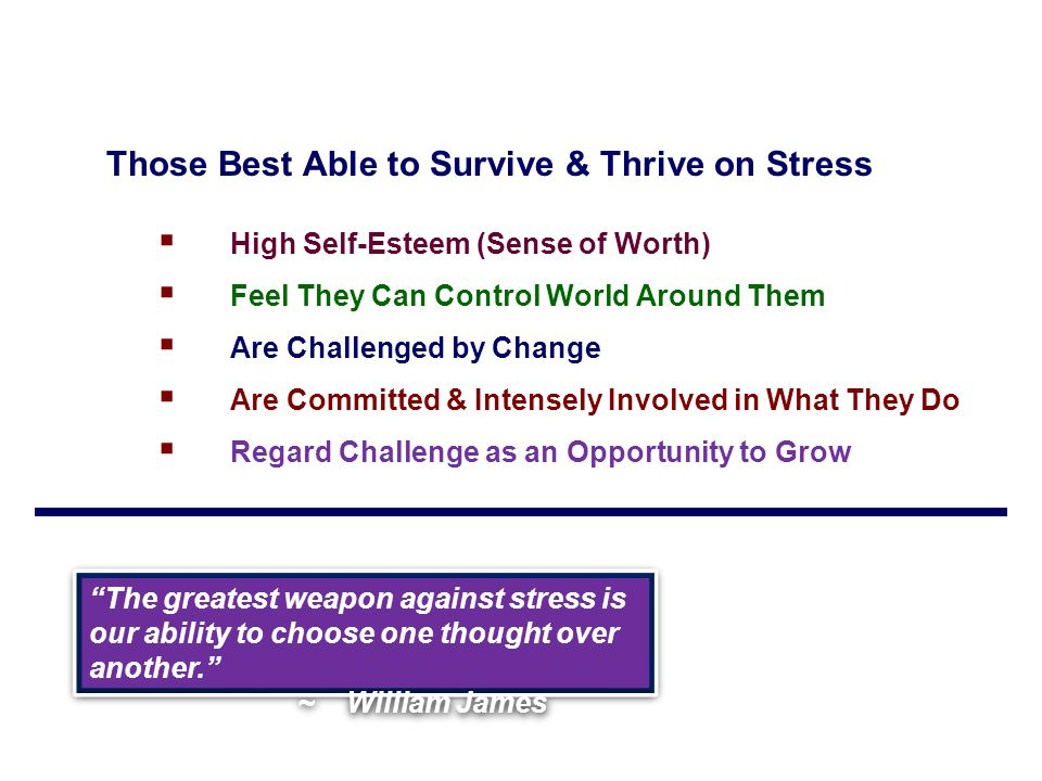 Those Best Able to Survive & Thrive on Stress