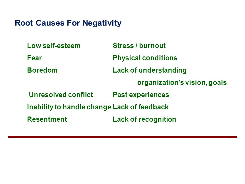 Root Causes For Negativity