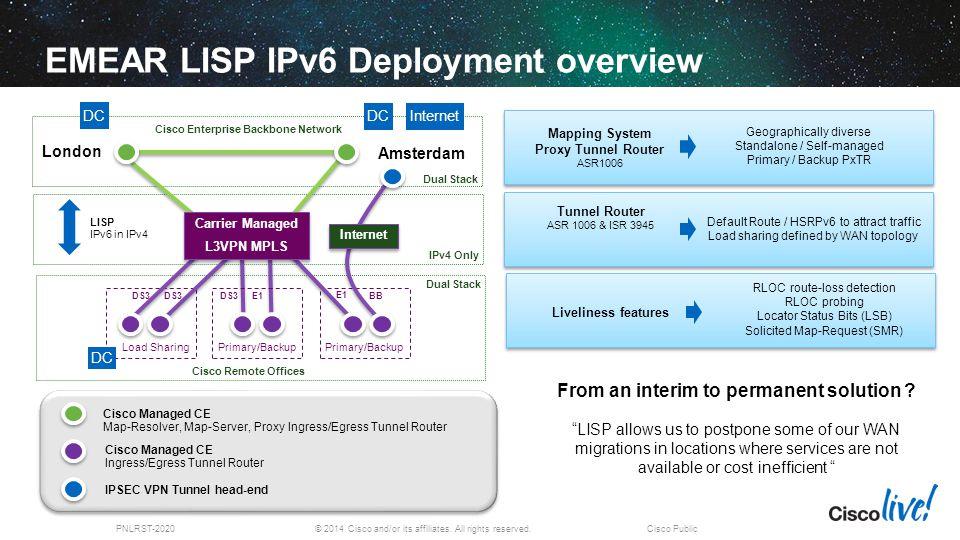 EMEAR LISP IPv6 Deployment overview