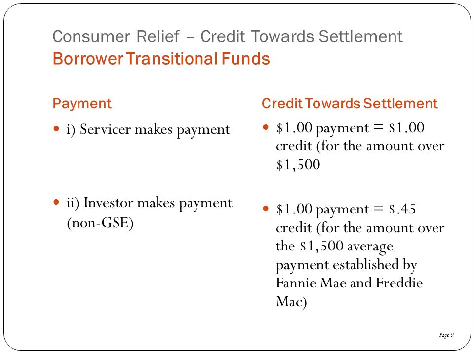 Consumer Relief – Credit Towards Settlement Borrower Transitional Funds