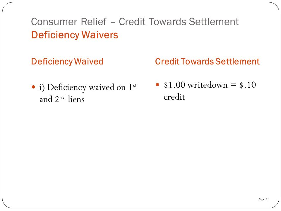 Consumer Relief – Credit Towards Settlement Deficiency Waivers
