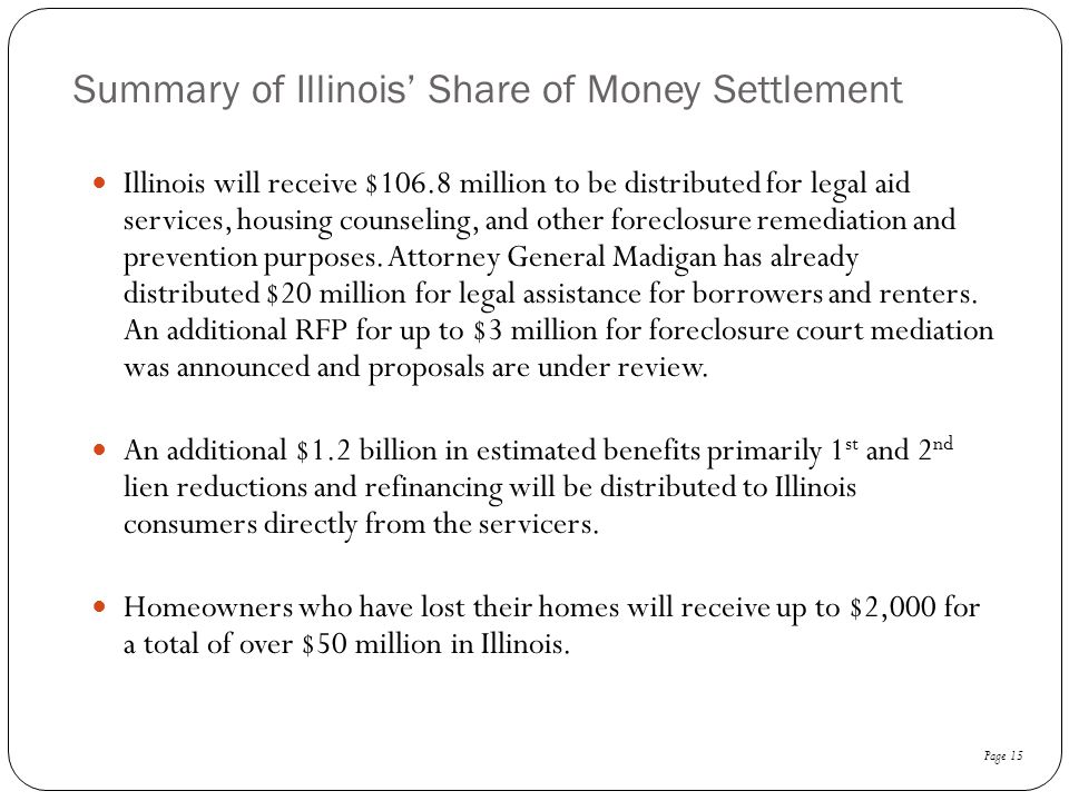 Summary of Illinois' Share of Money Settlement