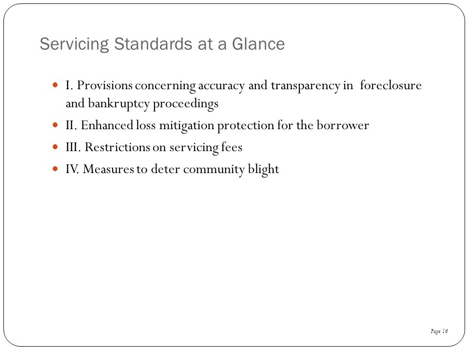 Servicing Standards at a Glance