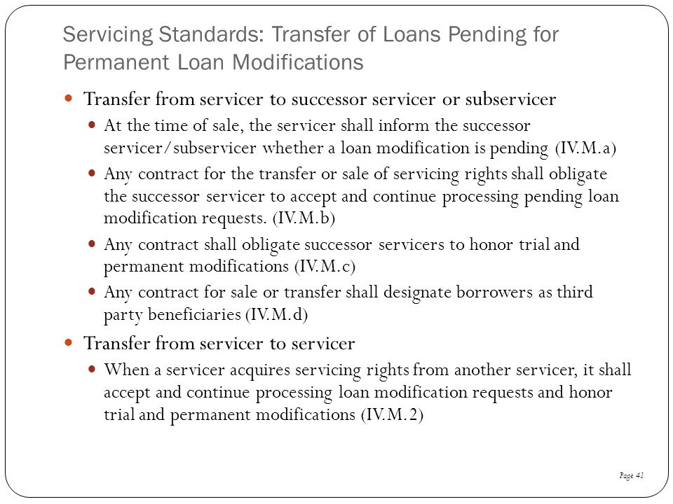 Servicing Standards: Transfer of Loans Pending for Permanent Loan Modifications