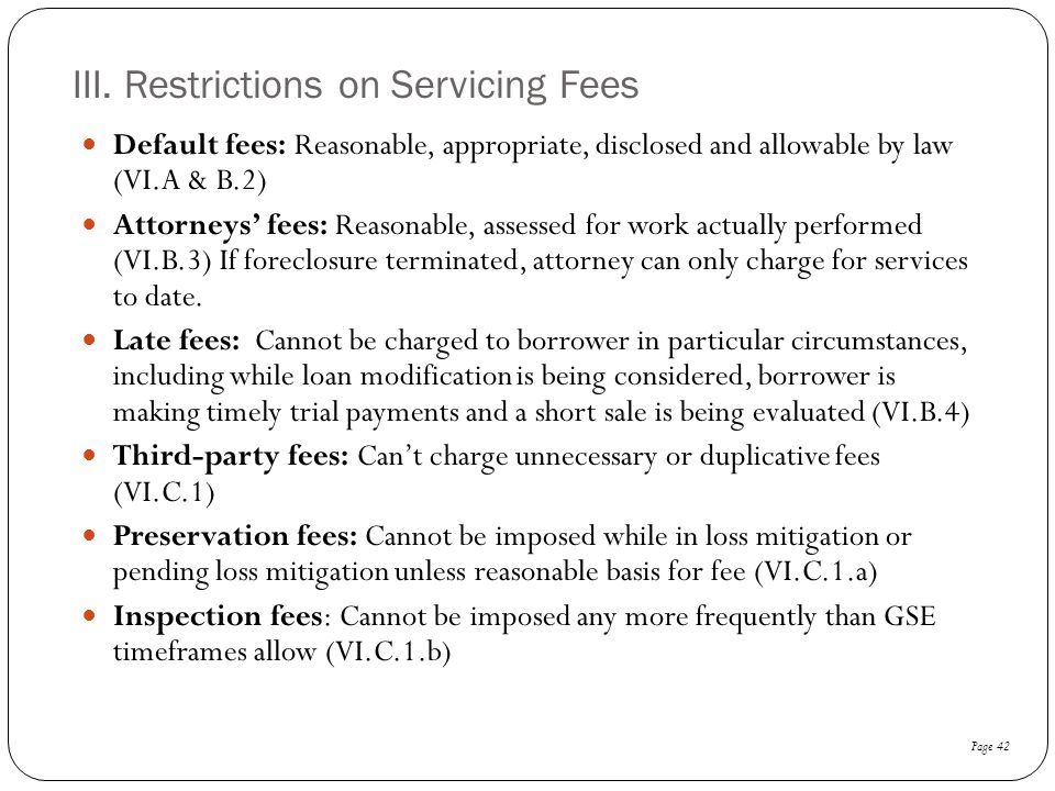 III. Restrictions on Servicing Fees