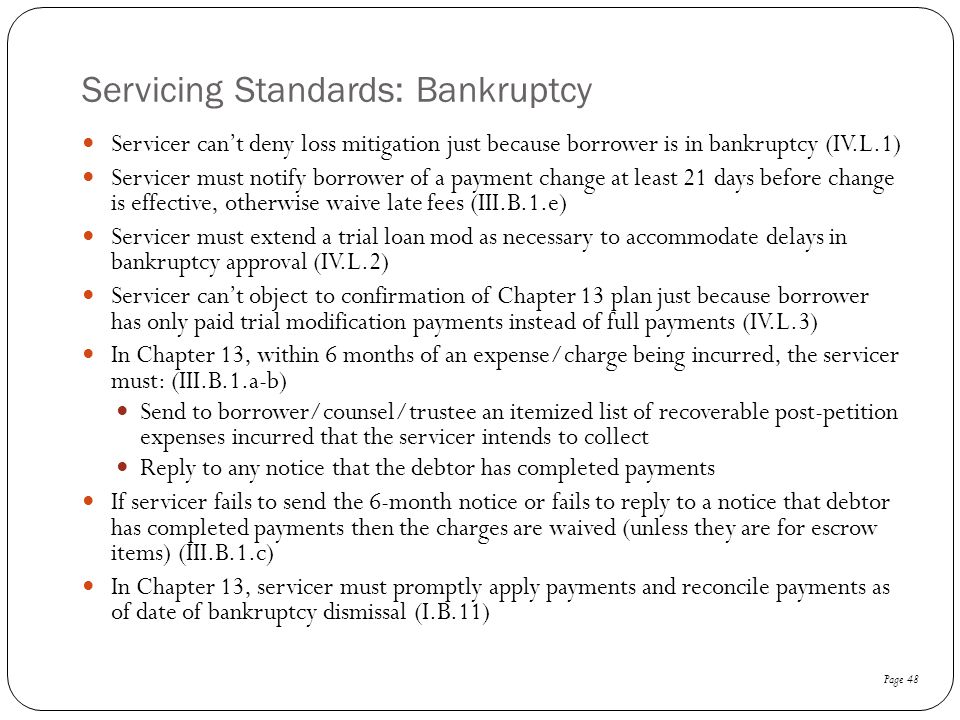 Servicing Standards: Bankruptcy