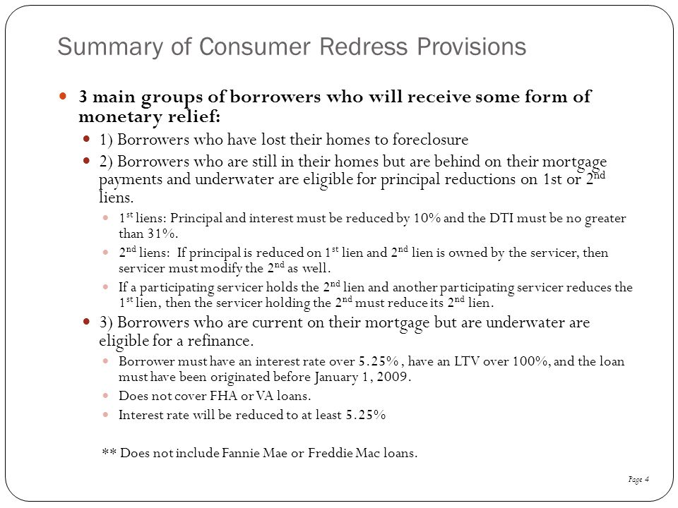 Summary of Consumer Redress Provisions