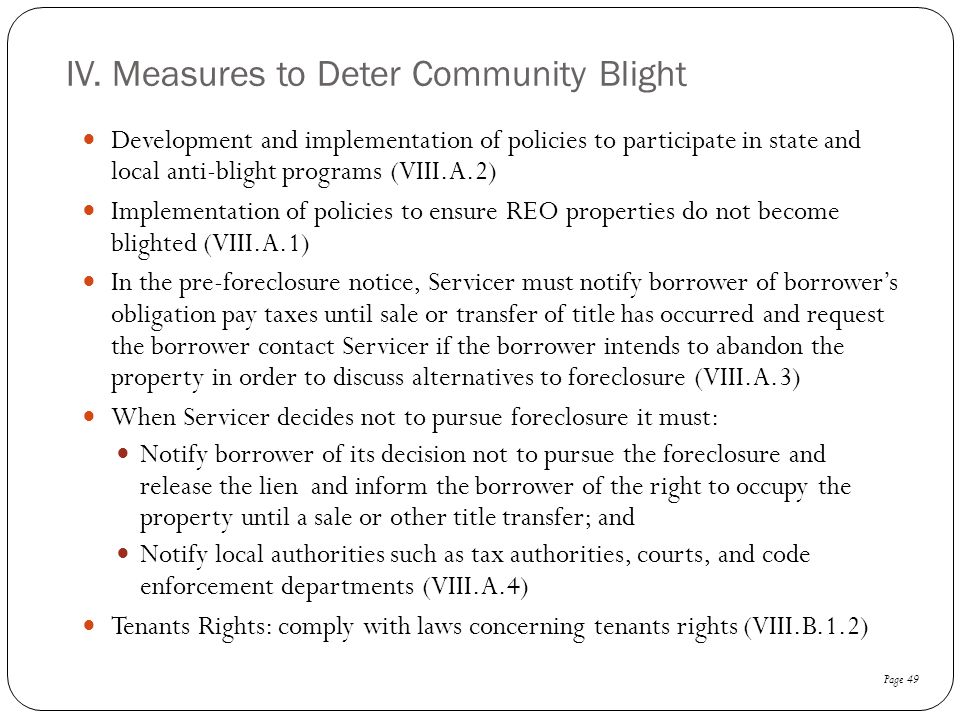 IV. Measures to Deter Community Blight
