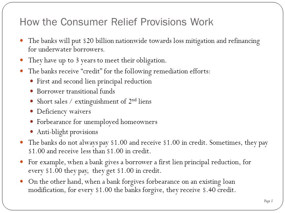 How the Consumer Relief Provisions Work