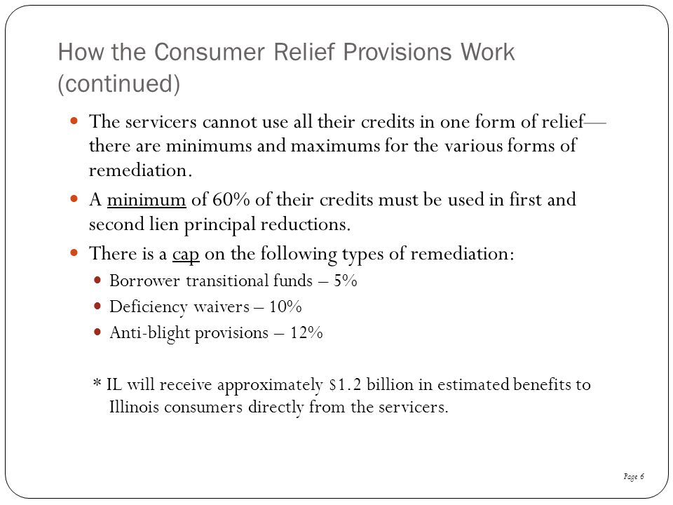 How the Consumer Relief Provisions Work (continued)