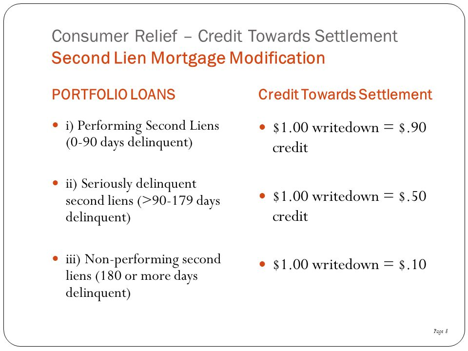 Consumer Relief – Credit Towards Settlement Second Lien Mortgage Modification