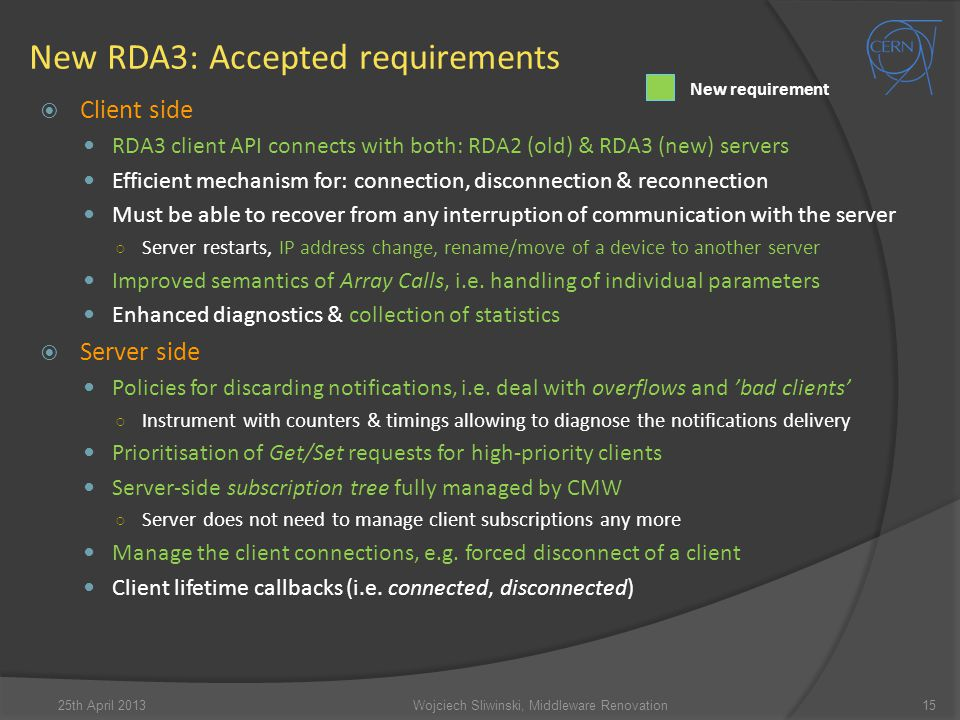 New RDA3: Accepted requirements