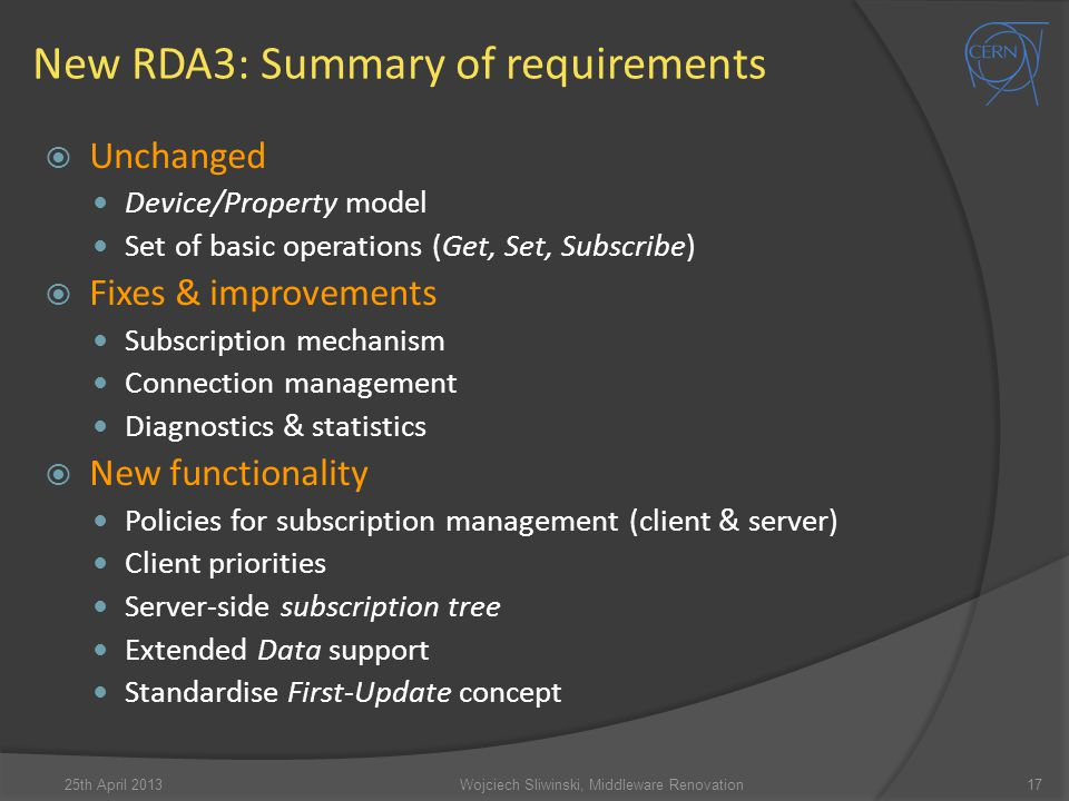 New RDA3: Summary of requirements