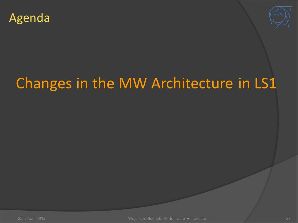 Changes in the MW Architecture in LS1