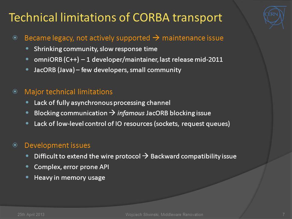 Technical limitations of CORBA transport