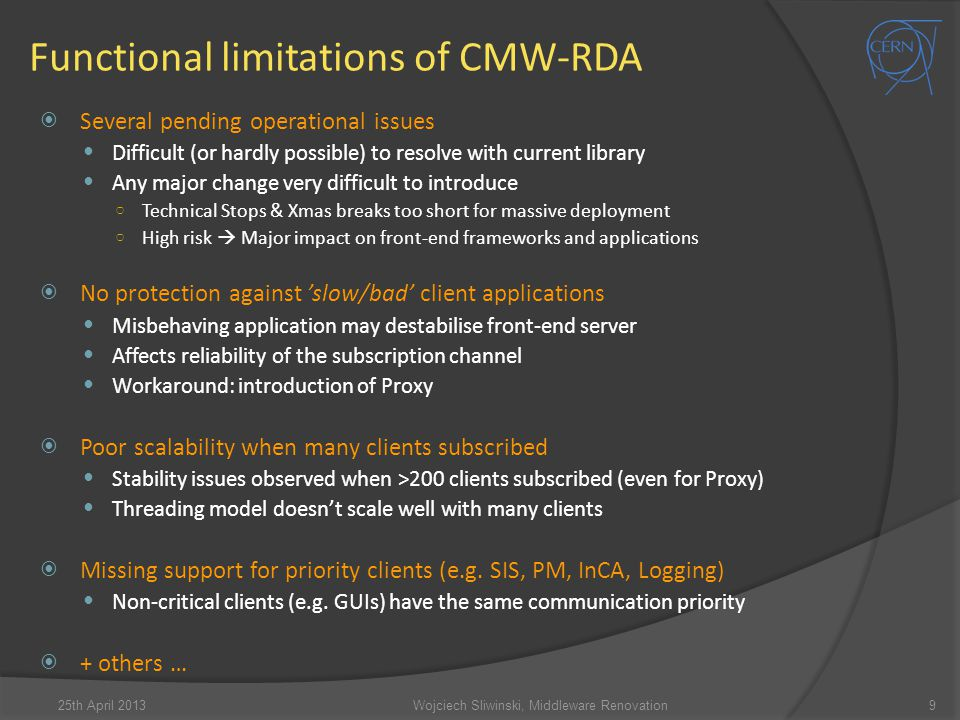 Functional limitations of CMW-RDA