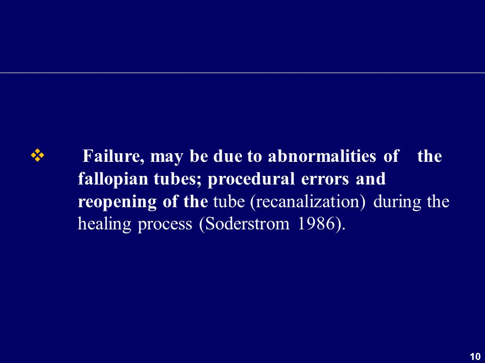 Failure, may be due to abnormalities of. the