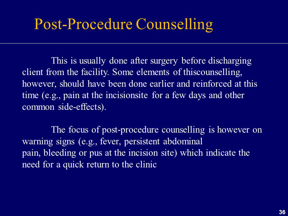 Post-Procedure Counselling