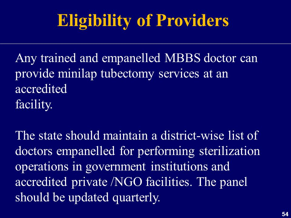 Eligibility of Providers