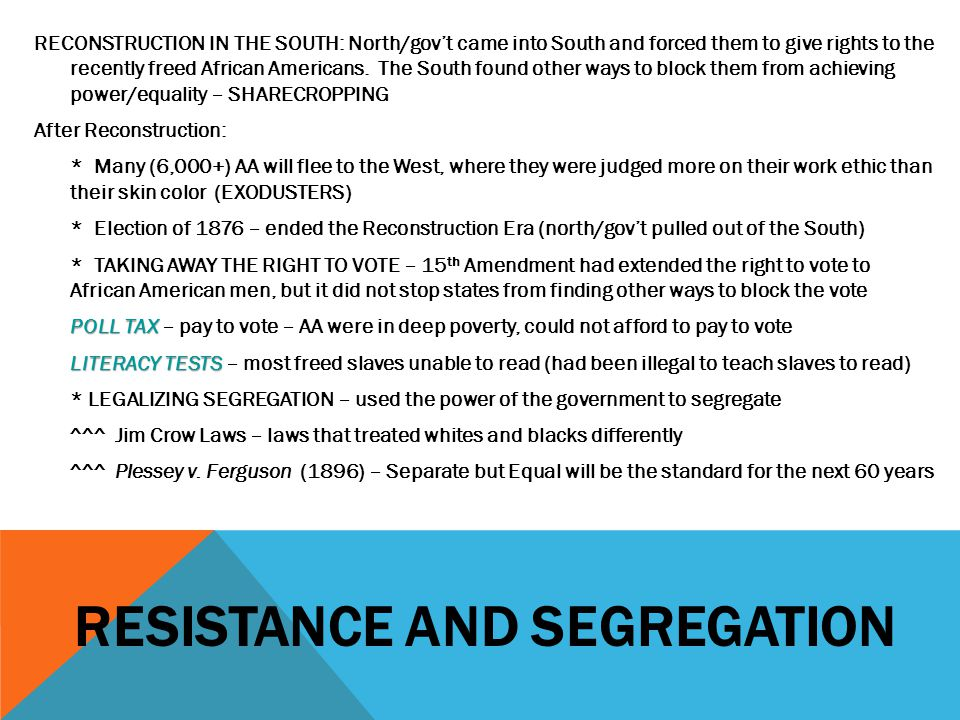 Resistance and segregation