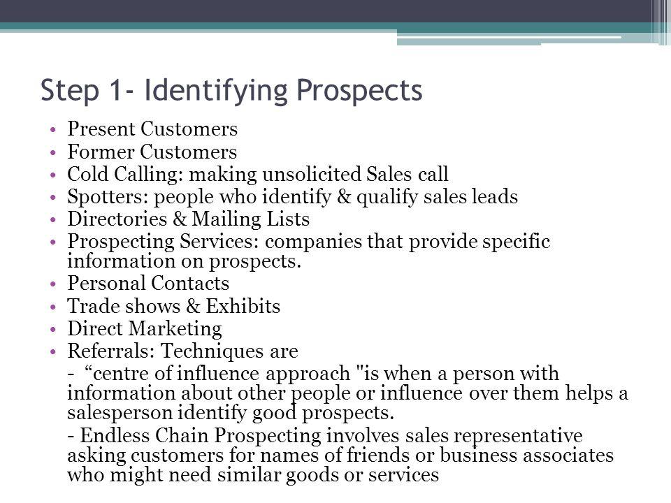 Step 1- Identifying Prospects