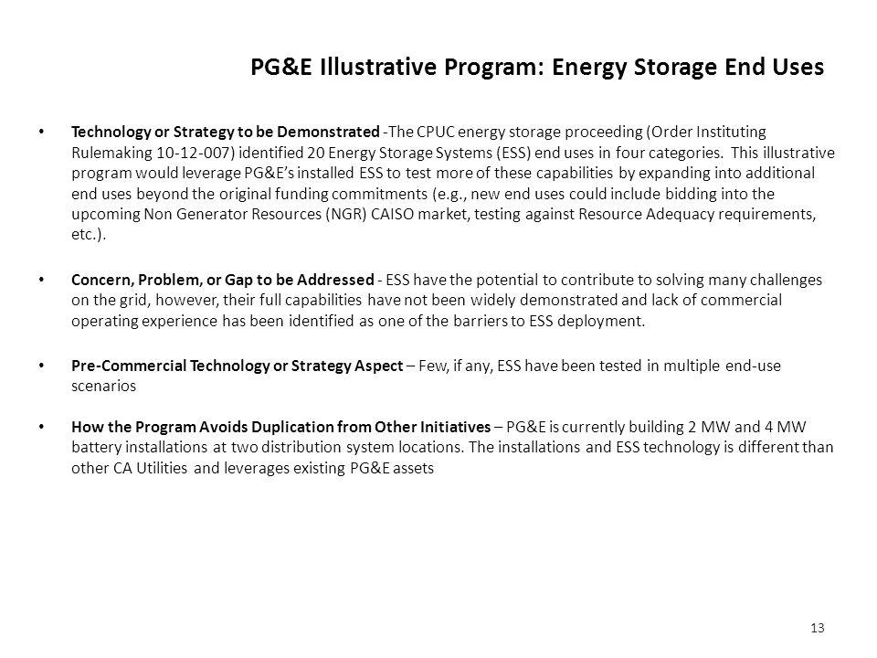 PG&E Illustrative Program : Energy Storage End Uses