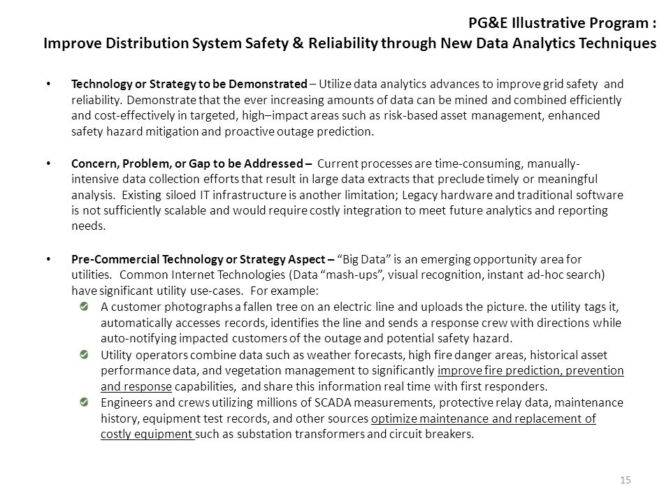 PG&E Illustrative Program: Improve Distribution System Safety & Reliability through New Data Analytics Techniques